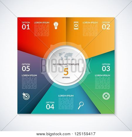 Vector infographic square template. Banner with 5 steps, stages, options, parts. Can be used for diagram, graph, pie chart, brochure, report, business presentation, web design.