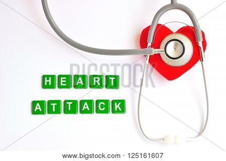 Heart with stethoscope on white background, heart  disease concept