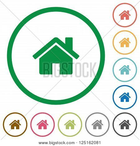 Set of home color round outlined flat icons on white background