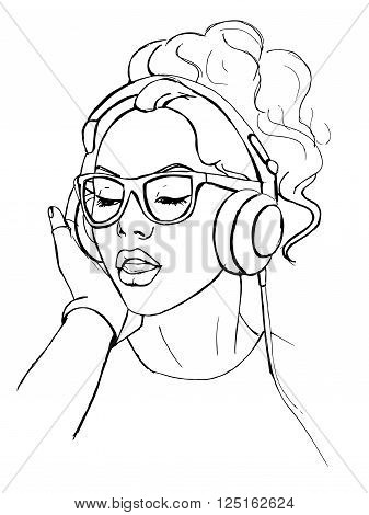 Young woman with headphones listening to music. Black and white hand drawn vector stock illustration