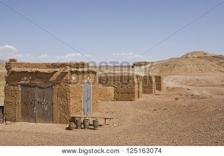 Ksar Ait Ben Haddou lonely hills and houses a fortified city or ksar along the former caravan route between the Sahara and Marrakech