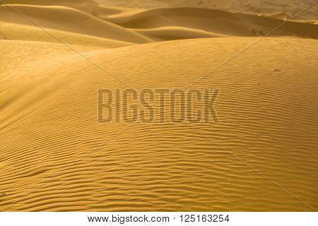Sand textures at sunrise over Erg Chebbi dunes area, Merzouga, Morocco
