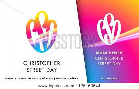 Christopher Street Day symbol for European Gay Pride in Germany, Austria, Switzerland. CSD icon.