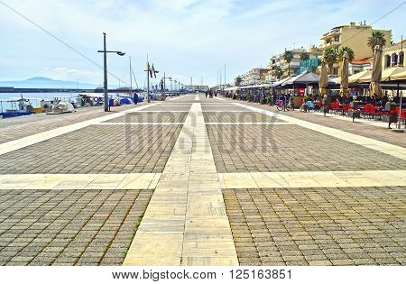NAVARINOU ROAD, KALAMATA PELOPONNESE GREECE, SATURDAY 02 2016: the pedestrian road Navarinou at Kalamata Peloponnese Greece. Editorial use.