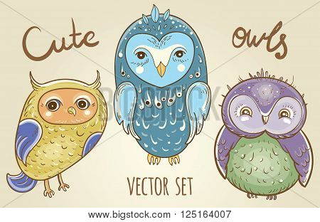 Cartoon set with cute owls. Vector hand drawn illustration