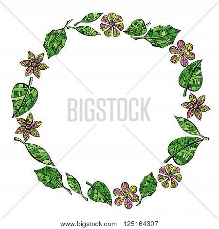 Frame of leaves and flowers on white background. Colorful hand drawn vector stock illustration