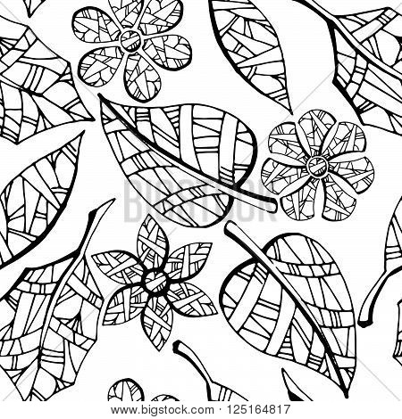 Collection of leaves and flowers. Black and white hand drawn vector stock illustration