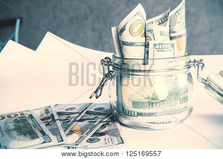 Dollars In Jar