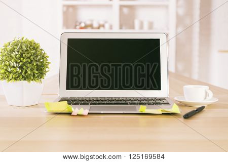 Empty Black Laptop And Plant