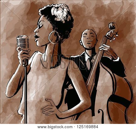 Jazz singer and double-bass - Vector illustration