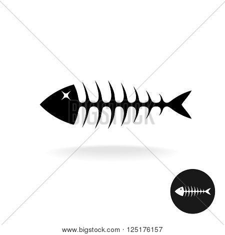 Fish Bones Simple Black Flat Silhouette Logo
