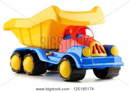 Colorful Plastic Truck Toy Isolated On White