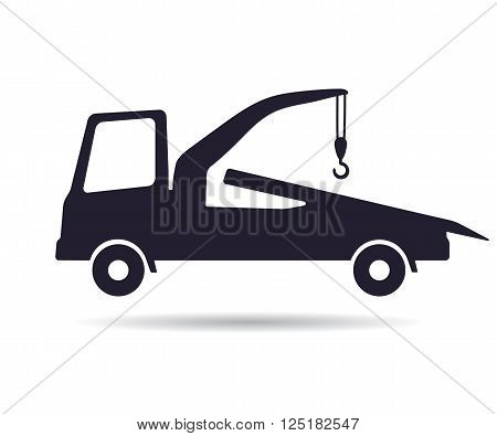 Tow truck icon, vector illustration isolated on white