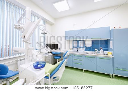 interior and medical equipment in the dental clinic
