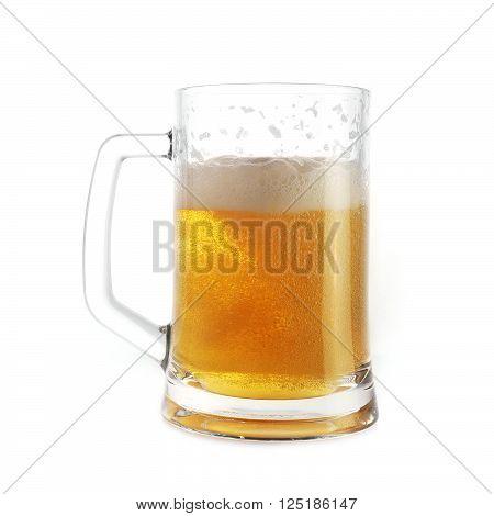 view of beer in mug close up