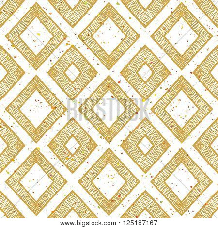 Hand drawn rhomb beige seamless pattern with motley splatter. Grunge style pattern for background, textile, paper packaging and other design. Vector illustration.