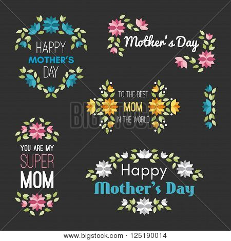 Happy Mothers Day. Set Of Vector Design Elements With Flowers. Greeting Card Templates. Vector Illus