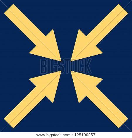 Center Arrows vector icon. Center Arrows icon symbol. Center Arrows icon image. Center Arrows icon picture. Center Arrows pictogram. Flat yellow center arrows icon.