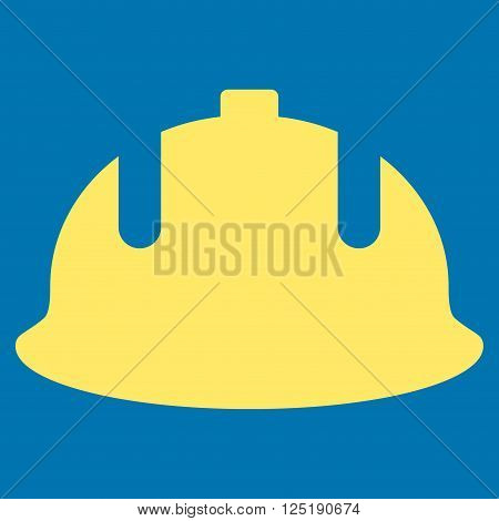 Construction Helmet vector icon. Construction Helmet icon symbol. Construction Helmet icon image. Construction Helmet icon picture. Construction Helmet pictogram. Flat yellow construction helmet icon.