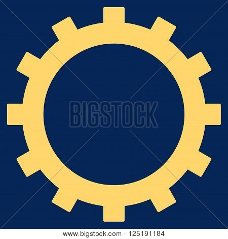 Gear vector icon. Gear icon symbol. Gear icon image. Gear icon picture. Gear pictogram. Flat yellow gear icon. Isolated gear icon graphic. Gear icon illustration.
