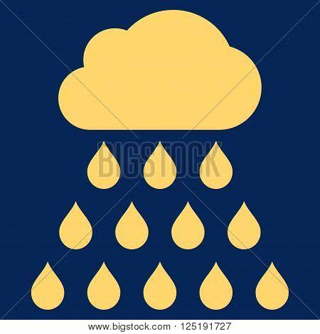 Rain Cloud vector icon. Rain Cloud icon symbol. Rain Cloud icon image. Rain Cloud icon picture. Rain Cloud pictogram. Flat yellow rain cloud icon. Isolated rain cloud icon graphic.