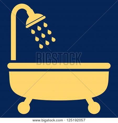 Shower Bath vector icon. Shower Bath icon symbol. Shower Bath icon image. Shower Bath icon picture. Shower Bath pictogram. Flat yellow shower bath icon. Isolated shower bath icon graphic.