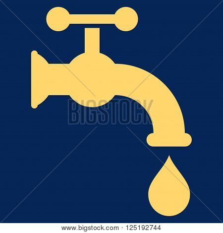 Water Tap vector icon. Water Tap icon symbol. Water Tap icon image. Water Tap icon picture. Water Tap pictogram. Flat yellow water tap icon. Isolated water tap icon graphic.