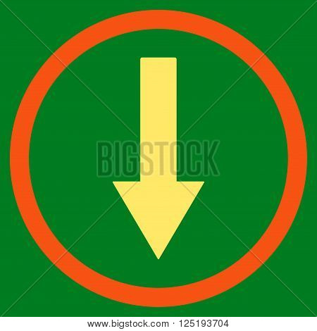 Down Rownded Arrow vector icon. Down Rownded Arrow icon symbol. Down Rownded Arrow icon image. Down Rownded Arrow icon picture. Down Rownded Arrow pictogram.