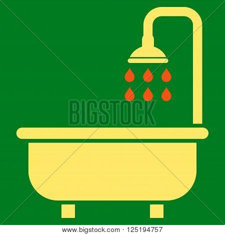 Shower Bath vector icon. Shower Bath icon symbol. Shower Bath icon image. Shower Bath icon picture. Shower Bath pictogram. Flat orange and yellow shower bath icon. Isolated shower bath icon graphic.