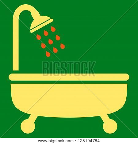 Shower Bath vector icon. Shower Bath icon symbol. Shower Bath icon image. Shower Bath icon picture. Shower Bath pictogram. Flat orange and yellow shower bath icon. Isolated shower bath icon graphic.
