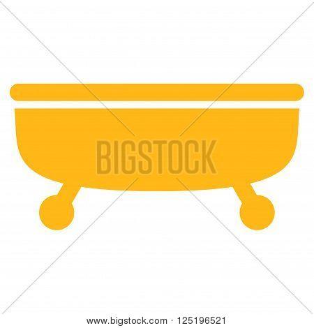 Bathtub vector icon. Bathtub icon symbol. Bathtub icon image. Bathtub icon picture. Bathtub pictogram. Flat yellow Bathtub icon. Isolated Bathtub icon graphic. Bathtub icon illustration.