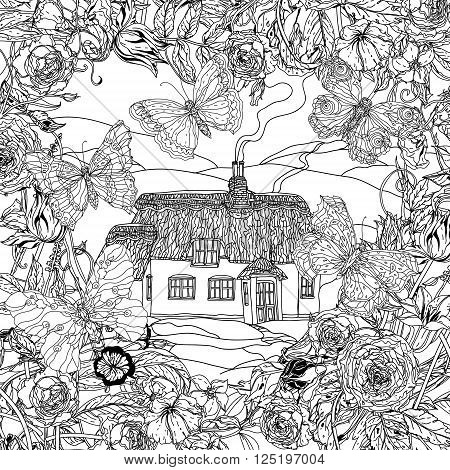 black and white flowers, butterflies and victorian house. for adult coloring book, zenart style. Hand-drawn, retro, doodle, vector, uncoloured. The best for textiles, cards, coloring book in vector.