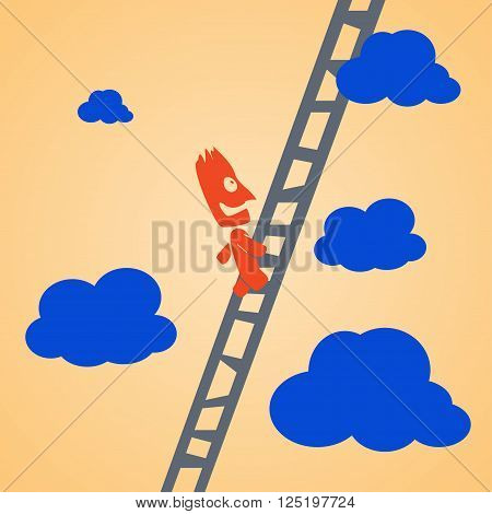 cartoon illustration of climbing businessman by ladder to up. businssman is smiling