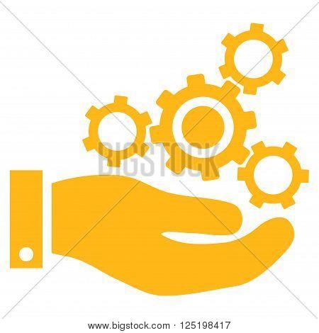 Mechanics Service vector icon. Mechanics Service icon symbol. Mechanics Service icon image. Mechanics Service icon picture. Mechanics Service pictogram. Flat yellow mechanics service icon.