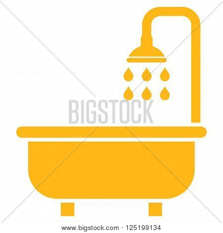 Shower Bath vector icon. Shower Bath icon symbol. Shower Bath icon image. Shower Bath icon picture. Shower Bath pictogram. Flat yellow shower bath icon. Isolated shower bath icon graphic.