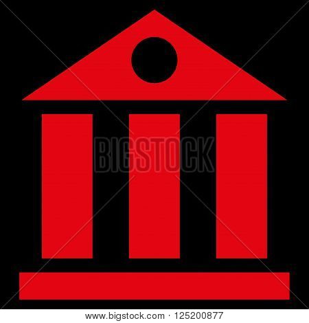 Bank Building vector icon. Bank Building icon symbol. Bank Building icon image. Bank Building icon picture. Bank Building pictogram. Flat red bank building icon. Isolated bank building icon graphic.