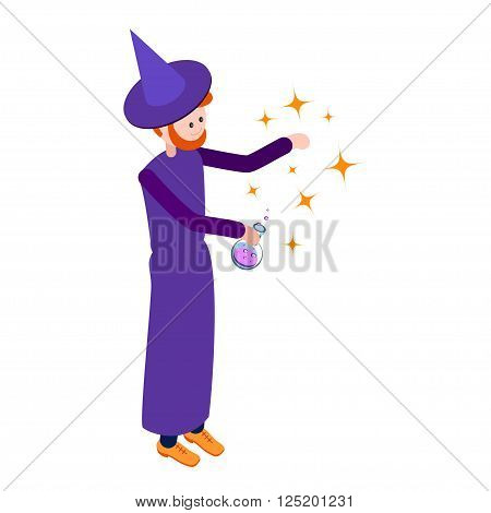 Cute wizard casts a spell over the flask of potion. Wizard isolated on white background. Isometric icon of wizard. Vector illustration.