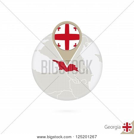 Georgia Map And Flag In Circle. Map Of Georgia, Georgia Flag Pin. Map Of Georgia In The Style Of The