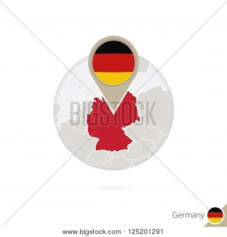 Germany Map And Flag In Circle. Map Of Germany, Germany Flag Pin. Map Of Germany In The Style Of The