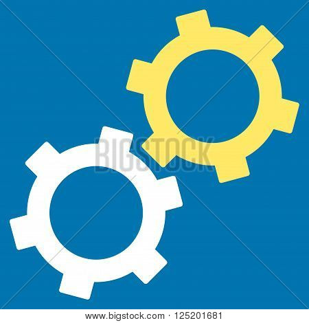 Gears vector icon. Gears icon symbol. Gears icon image. Gears icon picture. Gears pictogram. Flat yellow and white gears icon. Isolated gears icon graphic. Gears icon illustration.