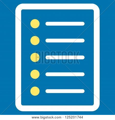 List Page vector icon. List Page icon symbol. List Page icon image. List Page icon picture. List Page pictogram. Flat yellow and white list page icon. Isolated list page icon graphic.
