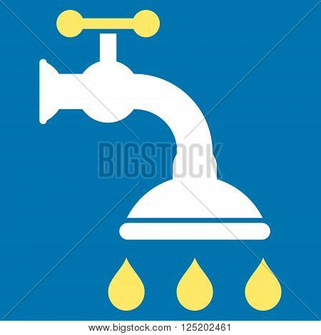 Shower Tap vector icon. Shower Tap icon symbol. Shower Tap icon image. Shower Tap icon picture. Shower Tap pictogram. Flat yellow and white shower tap icon. Isolated shower tap icon graphic.