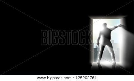 illustration of zombie man silhouette with light on black