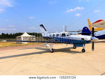 MOSCOW REGION - AUGUST 27: Display of an sports airplane at an international air show (MAKS Air Show) on August 27, 2015 in Moscow region