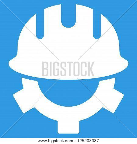 Development Helmet vector icon. Development Helmet icon symbol. Development Helmet icon image. Development Helmet icon picture. Development Helmet pictogram. Flat white development helmet icon.
