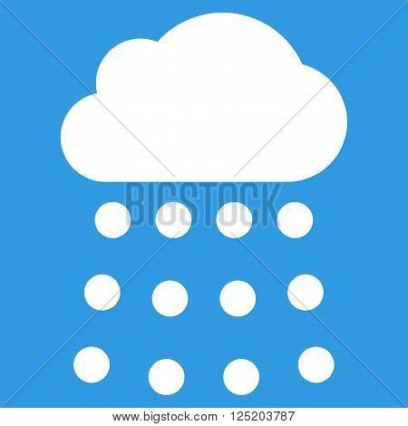 Rain Cloud vector icon. Rain Cloud icon symbol. Rain Cloud icon image. Rain Cloud icon picture. Rain Cloud pictogram. Flat white rain cloud icon. Isolated rain cloud icon graphic.