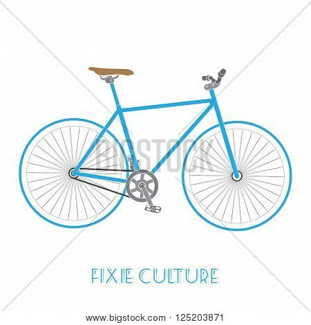 fixed gear bicycle culture isolated on white background.