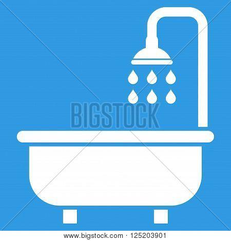 Shower Bath vector icon. Shower Bath icon symbol. Shower Bath icon image. Shower Bath icon picture. Shower Bath pictogram. Flat white shower bath icon. Isolated shower bath icon graphic.