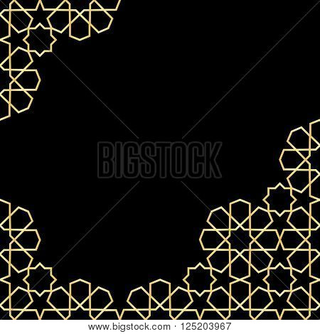 gold and black mosaic moroccan zellige template. vector illustration poster