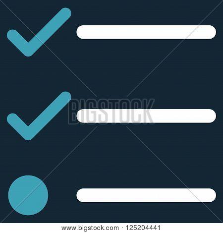 Checklist vector icon. Checklist icon symbol. Checklist icon image. Checklist icon picture. Checklist pictogram. Flat blue and white checklist icon. Isolated checklist icon graphic.